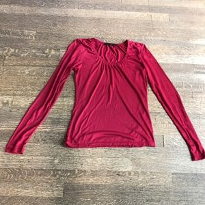 The Limited Red Modal LS Blouse